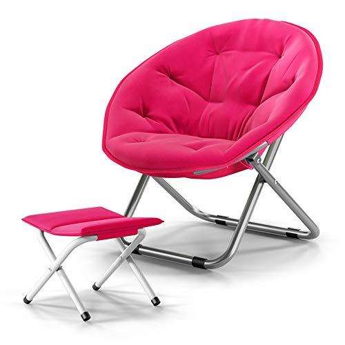 XIAOYAN Lazy Chair Klappstuhl mit Fußstütze Canvas Sitz für Kinder Jugend Erwachsene 2er Pack 4 Farben (Farbe : Pink)