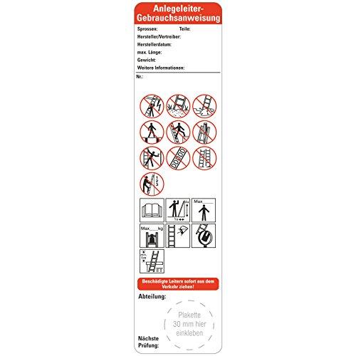 25 x Bedienungsanleitung Anlegeleitern nach Leitern und Tritte BGI BGV 50 x 200 mm