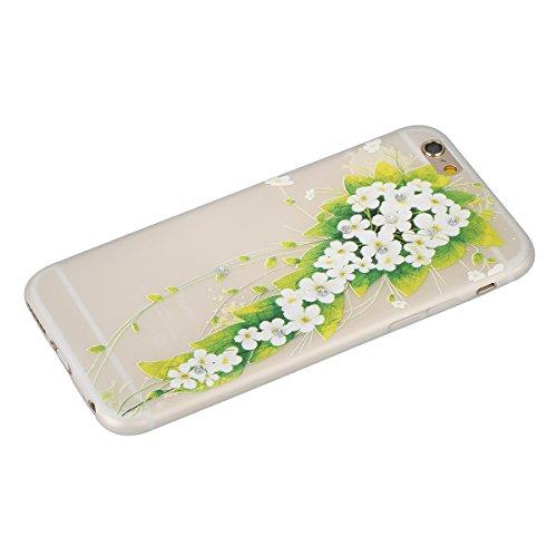 "Apple iPhone 6 Plus/6S Plus 5.5"" Case Silicone - Felfy Ultrathin Slim Soft Gel Mode Silicone Lichtdurchlässig TPU Peinture Rose Motif Fleur de Diamant de Bling Glitter étincelle Strass Cristal Creativ #33"