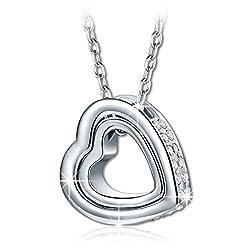 Kami Idea Geschenk zum Valentinstag Halsketten für Frauen Hohlherz Gesetzt Platin Vergoldet Swarovski Kette Damen Geschenk für Frauen Schmuck Damen Geburtstagsgeschenk für Frauen Mama Modeschmuck