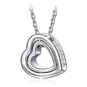 Kami Idea Princess Necklace for Women Love You Forever Engravd Heart Pendant with Crystals from Swarovski Jewellery Gifts for Christmas Birthday Wedding Anniversary Wife Girfriend Mother Daughter Her