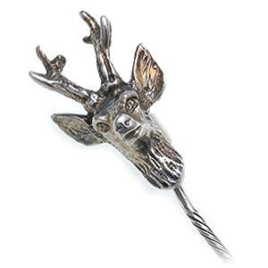 Krawattennadel Rehbock echt Silber 925 Jagdschmuck Grandelschmuck Anstecknadel