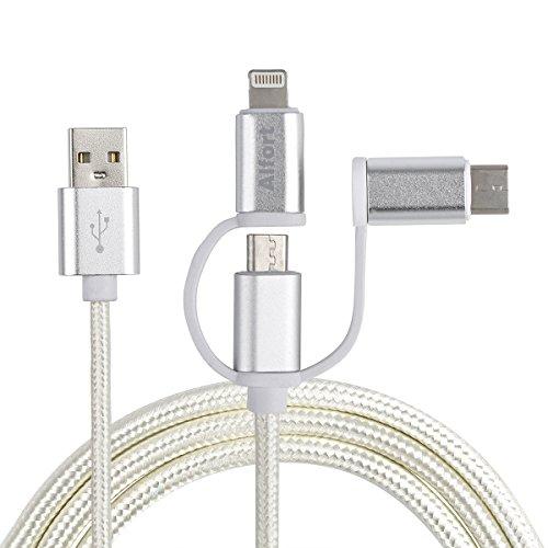 Alfort Ladekabel, USB Kabel Nylon 3 in 1 Gewebeweben Schnellladung universal Für for iPhone Android and USB interfaces Produkte (Schwarz)