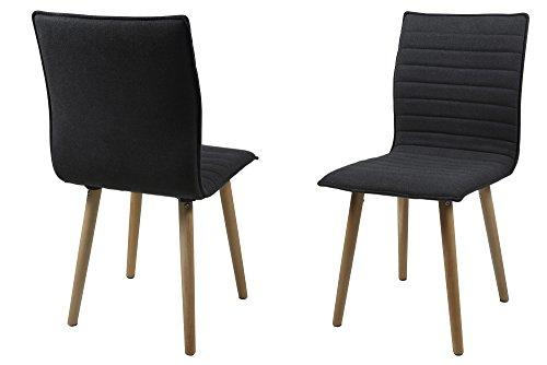 AC Design Furniture H000014088 Esszimmerstuhl 2-er Set Claus, Sitz/Rücken Gestell aus Eiche, Stoff, dunkelgrau (Stück 2 Stuhl Eiche)