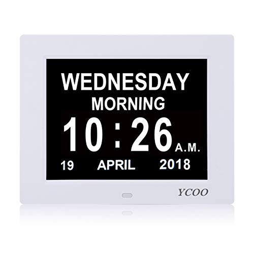 """[Newest Version] Day Clock, Extra Large Impaired Vision Digital Clock with Extra Large Non-Abbreviated Day & Month.8"""" Clock,12 Alarm Options Alarm Clock,Wall Clock Perfect For Living home office"""