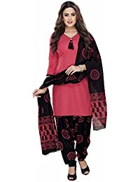 Miraan Women's Cotton Unstitched Dress Material (Pink_Free Size)