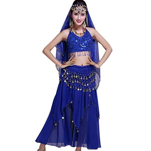 TianBin Damen Indien Bauchtanz Kostüme Komfort Chiffon Tanzkostüm Lange Tanzrock mit Pailletten (Saphir#2, One ()