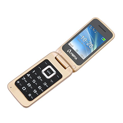 Olympia Luna - Seniorenhandy - Gold ✓ Große Tasten ✓ Notruf-Taste ✓ Klappbares Großtasten-Handy | Mobiltelefon für Senioren/Rentner Ohne Vertrag | Altersgerechtes Klapphandy mit Tasten