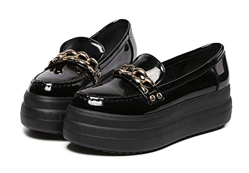 LDMB Women's Casual Runde Toe Metall wasserdichte Plattform Wedge heeled einzigen Schuhen Black