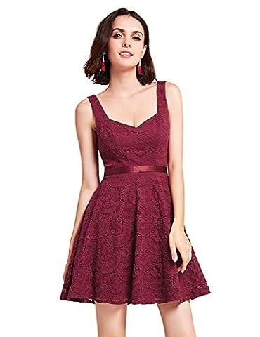 Alisapan Womens Sleeveless Sweetheart Short Party Dress 10UK Burgundy
