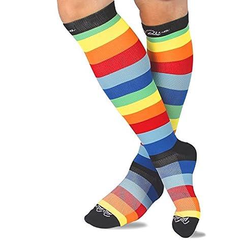 Chaussettes de compression,contention, pour la circulation sanguine,femme et homme (Rayures Colorés, L:HOMME EU44.5-49/FEMME EU41-42)