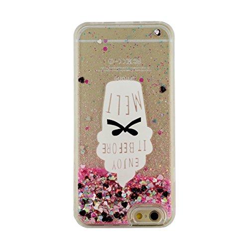 """iPhone 6S Plus Hülle Case Hardcase Schwer Hoch Transparent PC Hübsch [Funkeln Powder/Herzen Fließen] Entwurf Flüssiges Wasser Muster Stil Schutzhülle Apple iPhone 6 Plus 5.5"""" X 1 Stylus pen Pink"""