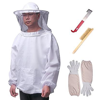 ALLOMN Beekeeping Suit Set Beekeeper Tools Beekeeping Equipment with Breathable Suit Jacket Long Sleeve Gloves Bee Hive Brush J Hook Hive (Set of 4 PCS) 1