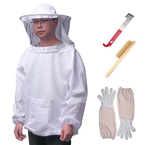 ALLOMN Apiculteur Outils Ensemble Apiculteur Apiculteur Apiculteur Respirant Costume Veste Gants à manches longues Abeille Hive Brush J Hook Hive Set de 4 PCS