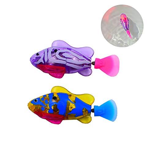 2 Stück Elektronische Fisch,Fische aus Kunststoff Spielzeug Roboter Schwimmen Fisch Batteriebetriebene Elektro Schwimmen Tauchen Schwimmdock Wasser aktiviert Clown Fisch Roboter Fische im Wasser