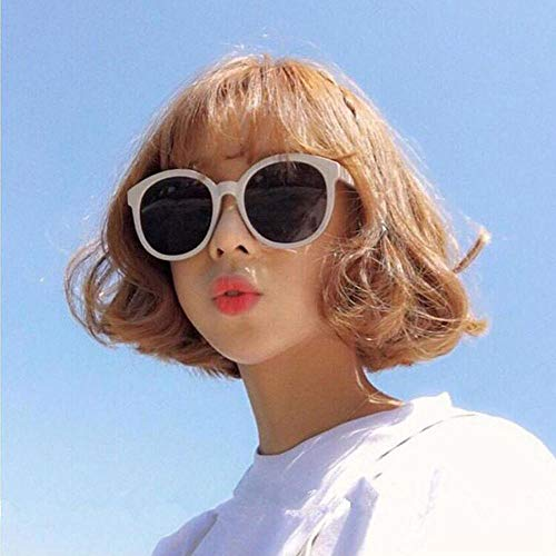 Korea ulzzang Harajuku Sonnenbrille weiblichen Retro runden Rahmen Sonnenbrille Beige Weiß Gesicht Reparatur Gesicht Gelee Puder Gläser Tee Rahmen Tee (Taschentuch) @White Rahmen grau Stück (Taschent