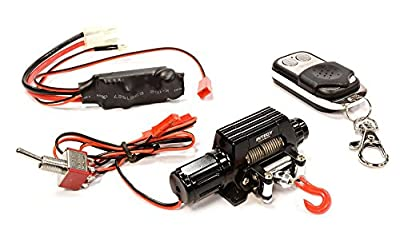 Integy RC Hobby C25875BLACK T10 Realistic High Torque Mega Winch w/ Remote for Scale Rock Crawler 1/10 Size