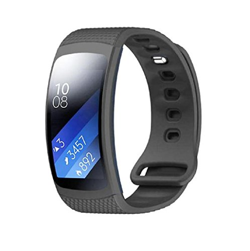 Sannysis Correas de reloj de silicón para Samsung Gear Fit 2 SM-R360, 145-195mm (Gris)