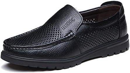 Zapatos de Cuero para Hombres Cuero Genuino de Piel de Vaca Cuero Antideslizante Plano con Suela Plana para Caballeros...
