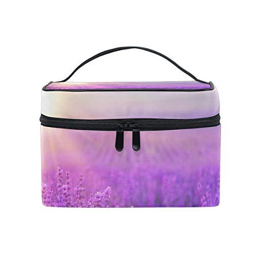 Mesh-kupplung (Tragbare Make-up Kosmetiktasche Platz mit Reißverschluss Violet Lavendel Feld Sonnenuntergang einschichtige Kupplung Reise Aufbewahrungstasche Beutel für Frauen Mädchen)