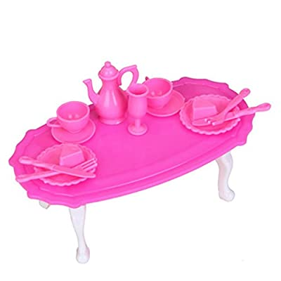 Doll House Miniature Dining Room Furniture Dining Table Set for Small Doll - Shocking Pink And White - inexpensive UK light shop.