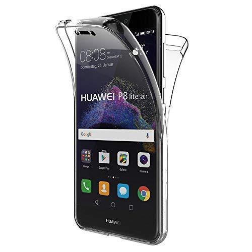 Cover huawei p8 lite 2017, aicek 360°full body cover p8 lite 2017 silicone case molle di tpu trasparente sottile custodia per huawei p8 lite 2017