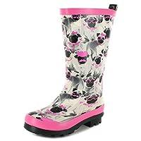New Girls/Childrens Grey/Pink Cute Pug Print Wellington Boots - Grey Pug Print - UK Sizes 1-13