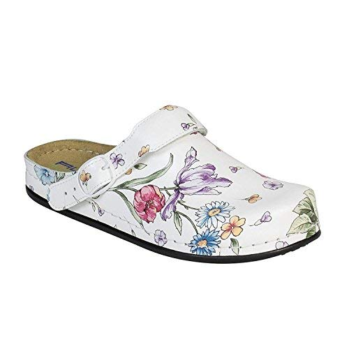 "AWC Damen Berufsschuhe ""Tiefbett"", Farbe: Deko White Flower, Größe: 37"