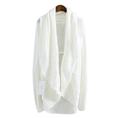 NiSeng Femmes Irrégulier Tricots Sweater Manteau Elegant Manches Longues Châle Cardigans Chandail Blanc