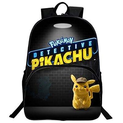 Mochila Pokemon para niños, Adolescentes, niñas, niños, Detective Pikachu Eevee, Mochilas de Ordenador portátil para Hombres, Mochilas de Viaje Grandes para Adultos