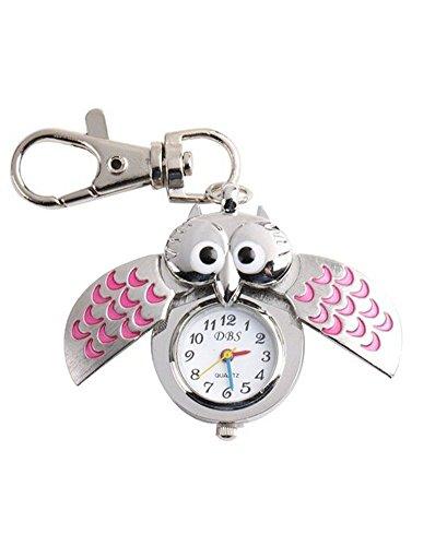Gespout Porte-clés Motif Chouette Temps D'affichage Rose Alliage Diamètre du Cadran 2.2cm