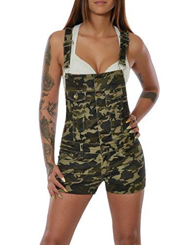 Damen Camouflage Latzhose Latz-Jeans Latz-Shorts Kurze Hose Jumpsuit Overall No 15641, Farbe:Mehrfarbig;Größe:42 / XL