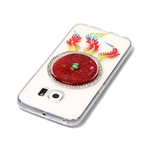 Galaxy S6 Edge Hülle, Kreativ Design 3D Transparent Soft Silikon Hülle Case Dynamisch Heart-shaped Treibsand Liquid Fließen Flüssig Schwimmend Tasche Handyhülle Glitter Glitzer Sparkle Hart TPU Bumper 3