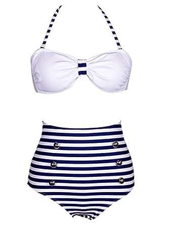 Womens Ladies Girl Sexy Retro Push-up Pin Up Padded High Waisted Bikini Swimsuit Beachwear Swimwear Bathing Suit SET by Boolavard® TM (XL (12-14), 8)