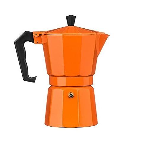 Traditional Italian Style Design 6 Cup Espresso Coffee Maker - Orange Aluminium by Premier Housewares BY PRIME FURNISHING