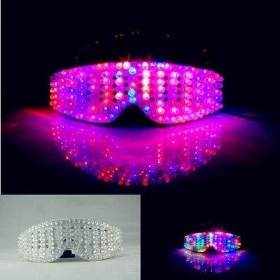BeesClover LED-Sonnenbrille, Bunte LED-Lampen, kühles Blinken am Abend und leuchtet Sieben Stufen Requisiten Wie abgebildet