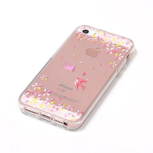 iPhone 5S Hülle,iPhone SE Hülle,Silikon Hülle für iPhone 5S,JAWSEU iPhone SE/5/5S 360 Grad Hülle Ultra dünn TPU Silikon Hülle Tasche Case Handy Cover Rundum Schutzhülle,2 in 1 Double Sides Full Body T Vogel Blumen