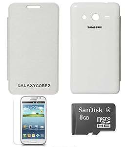 TBZ Premium Flip Cover Case -White for Samsung Galaxy Core 2 with Screen Guard and 8GB MicroSD