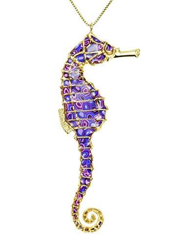 Collier Pendentif Hippocampe Majestueux - Bijoux fait main en Argent fin Plaqué Or et Fimo, Chaine en Or Laminé 50cm Violet
