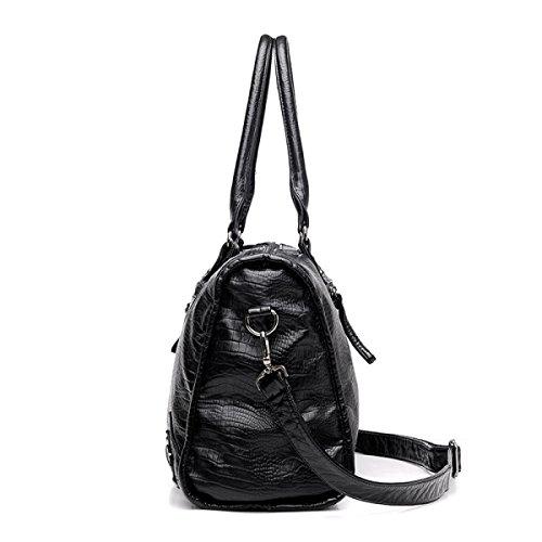 Frauen Umhängetaschen Retro Willow Nagel Motorrad Tasche Damen Mode Große Kapazität Reiseeinkaufstasche Black