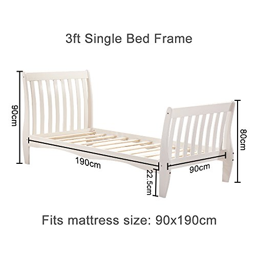 Willstone Wooden Bed Frame Solid Pine Wood Bedstead for Home Bedroom Children Bedroom (3FT Sleigh, White)