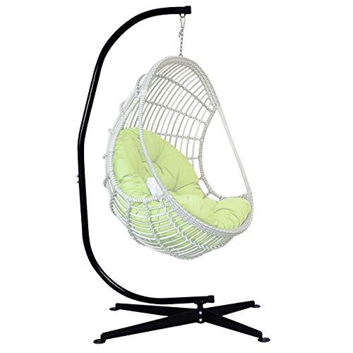 Goplus sostegno per sedia sospesa 205cm supporto per appendere sedile sospeso dondolo, carico fino 150kg, acciaio, nero