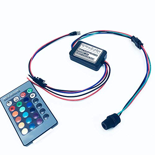 Rayauto 24key Remote RGB 2W DC 12V Car Home Light Side Glow Fiber Optic  light Source illuminator Power Engine Supply 1 Head
