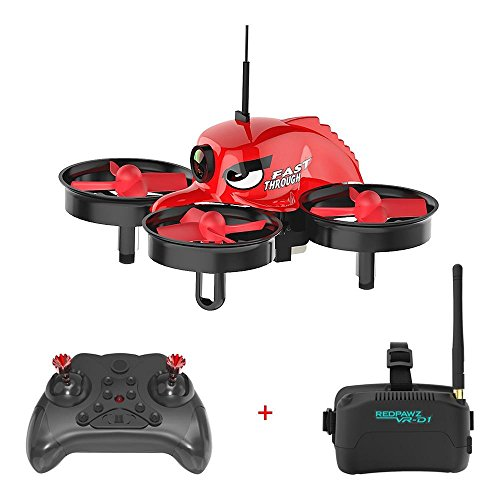 REDPAWZ R011 Micro FPV Racing Drone 5.8G 40CH RC Drone Quadcopter with VR Goggles 1000TVL FOV 120°Wide-angle Camera RTF Hedless Mode One Key Return (Remote Control and 3 inch Goggles Included)