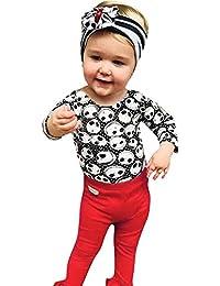 JYC Conjuntos Bebes,Conjuntos Bebe NiñA Algodon,Infantil Bebé Chicas Cráneo ImpresiónMameluco Jumpsuit + Pantalones Halloween Trajes