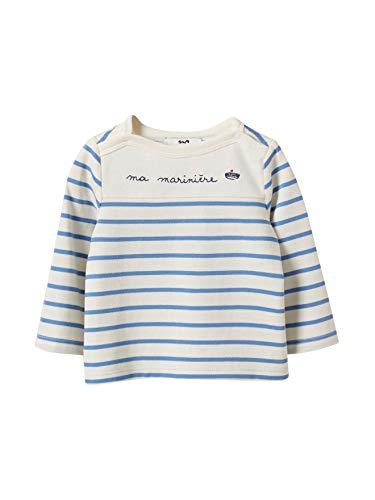 Cyrillus T-Shirt marinière bébé 24M Rayé Vanille/Bleu crépuscul