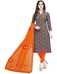 Ishin Women's Synthetic Dress Material (Ddvrmns-2557_Grey & Orange_Free)