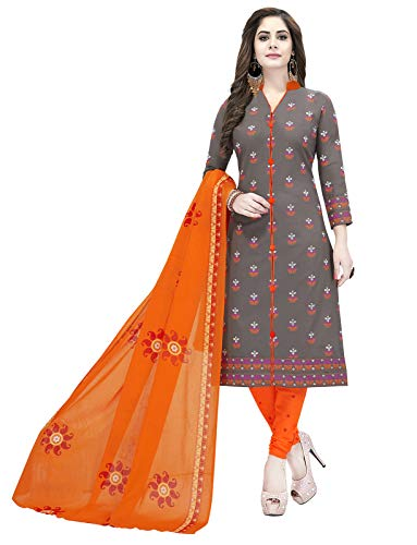 Ishin Synthetic Grey & Orange Printed Women\'s Unstitched Salwar Suits dress material with Dupatta