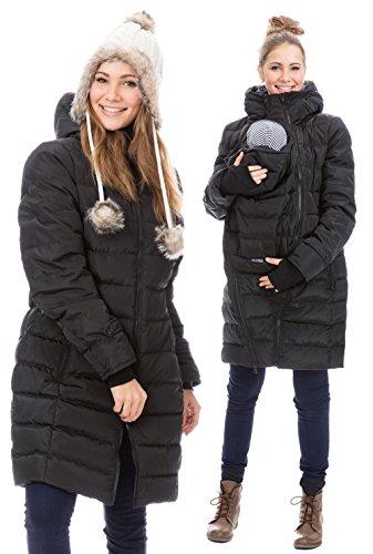 GoFuture Damen Tragejacke für Mama und Baby 4in1 Känguru Jacke Umstandsjacke Daunen Winter GF2265XA5 Schwarz mit blauem Innenfutter - 3