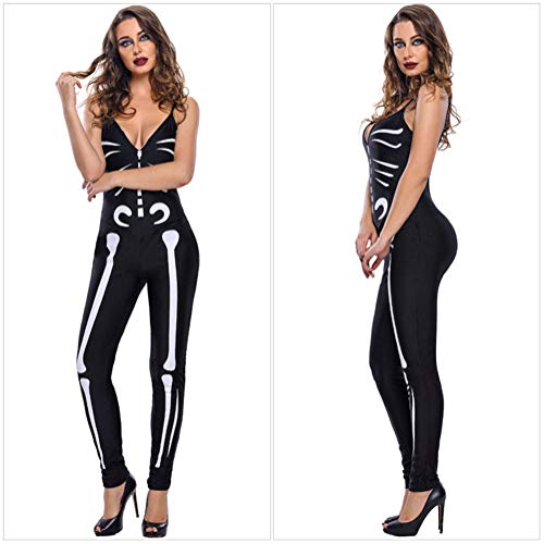 GYH Damen Skelett Knochen Drucken Ärmellos Schlinge Jumpsuit Halloween Kostüme Bodysuit Halloween Party Sammlung Bodycon,M - Sammlung Bodysuit